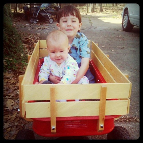 Wagon ride. Thank goodness for spring!