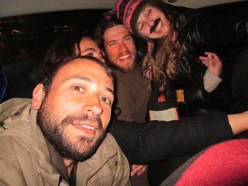 6 foreigners in a cab, drunk.