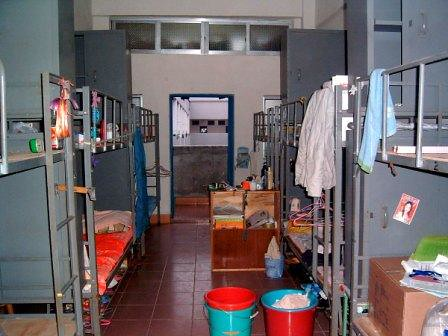 Photo of a very crowded room inside the girls' dormatory