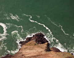 Breakwater (Jeremy Brooks) Tags: ocean california ca cliff usa water flying high waves unitedstates aerial helicopter marincounty millvalley