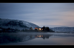 The lake house (Arnar Bergur) Tags: trees sky house mountain lake snow cold reflection tree water night canon frozen iceland nightshot 5d arnar 1740 sland hs sumarhs sommerhouse lftavatn visipix