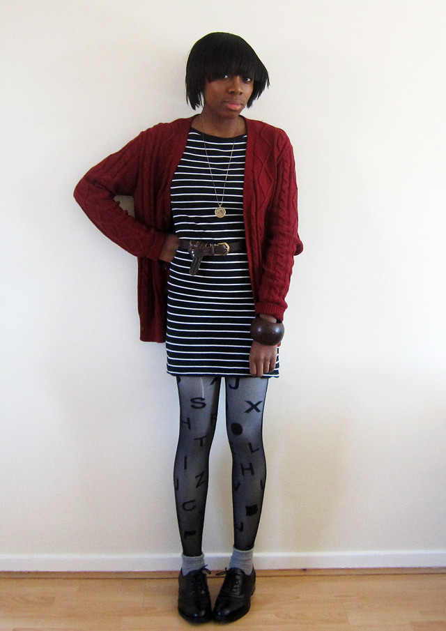 red cable forever 21 cardigan striped dress