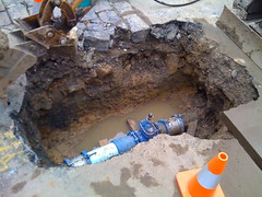 Water Board hole with new pipe and valve