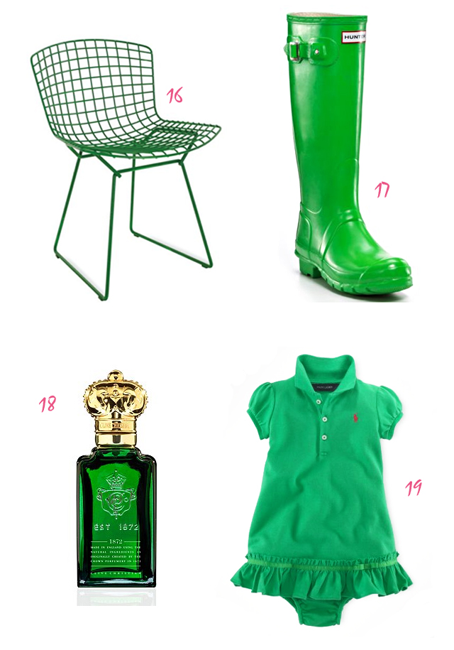 Kelley Green Things - 4, green outdoor chair, green hunter wellies rain boots, green bottle of perfume, green toddler ralph lauren dress with bloomers