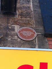 Photo of William Dawson, Wharfedale printing press, and Ashfield Works, Otley brown plaque