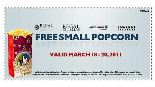Regal Cinemas Free Small Popcorn coupon