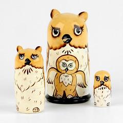 Owls Little Family Nesting Doll (The Russian Store) Tags: matrioshka matryoshka russiannestingdolls  stackingdoll  russianstore  russiangifts  russiancollectibledolls shoprussian