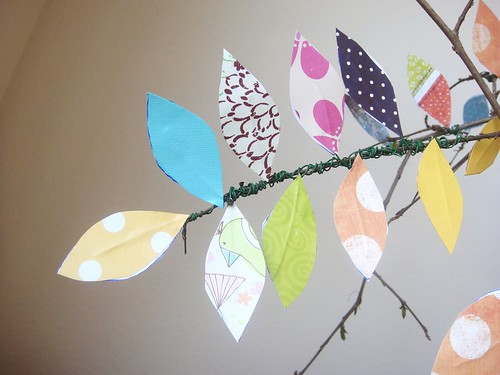 Scrapbook paper leaves on tree