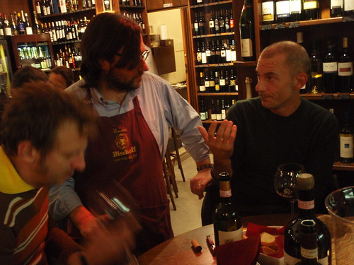 Michele Manelli from Salcheto winery in enoteca Bischoff Trieste