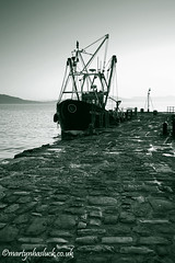 Moored Up! (Martyn Hasluck) Tags: uk sea bw coast boat blackwhite nikon harbour dorset mooring duotone cobbles trawler lymeregis damp westcountry moored thecobb d700 westcountryclickers