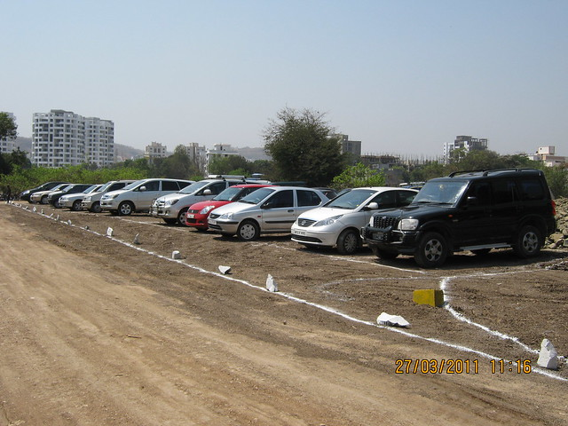 Proposed 30 meter D. P. Road and visitor's cars on the day of Bhoomi Poojan of DSK Gandhakosh Baner Pune