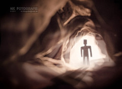 Cave (NK Photo + Art) Tags: world light man macro standing paper funny mood puppet handmade character board small tunnel mini scene story cardboard card figure cave scape situation storyboard nk caveman papercraft welt ambiance kleine