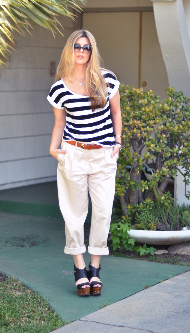 khaki mens  pants and striped  shirt with wooden wedges