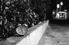 Late nighters (Himanshu Joshi Bangalore) Tags: monochrome blackandwhite bw analog film filmcamera ishootfilm iso400 ilford pan400 cosina cosinact1super pentax 50mm clock alarm dof night long exposure