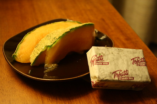 cantaloupe and tofutti mint chocolate
