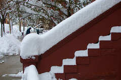 """37"""" and counting ... (Siva_K) Tags: nyc newyorkcity winter red snow newyork ice manhattan steps blizzard"""