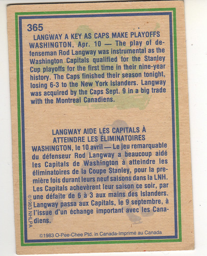 Rod Langway 8384 highlight - back