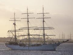 Christian Radich pylons (Nekoglyph) Tags: blue white water sailing estuary theonedinline tallship pylons masts teesside rigging tees christianradich southgare barcheboats