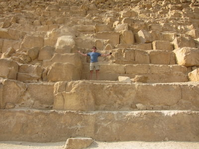 standing on pyramid of giza