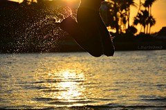 water sport (Laurarama) Tags: travel sunset vacation people selfportrait water silhouette jump nikon artistic au humor creative gap dec perth austrailia concept knees splash conceptual leap contrejour backlighting selfie odc leapyear rimlighting 18105mm d7000 mykneeswillhatemeinthemorning
