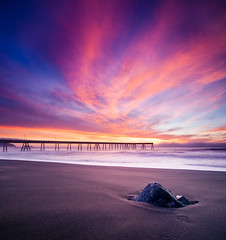 Pastel Explosion (~ superboo ~ [busy busy]) Tags: ocean sunset color beach rock clouds wow pier sand surf waves pacific pastel explosion pacifica