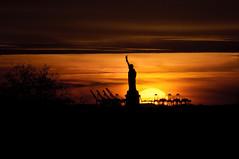 Sunset from Brooklyn Bridge (fotoclay) Tags: newyorkcity sunset nikon brooklynbridge statueofliberty d300s