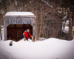 Living in the Past is Hard Work! (Peter E. Lee) Tags: new wood winter england snow museum ma massachusetts rustic shed newengland axe rugged oldfashioned oldsturbridgevillage woodshed hearty 1830 sturbridgevillage 2011 choppingwood osv