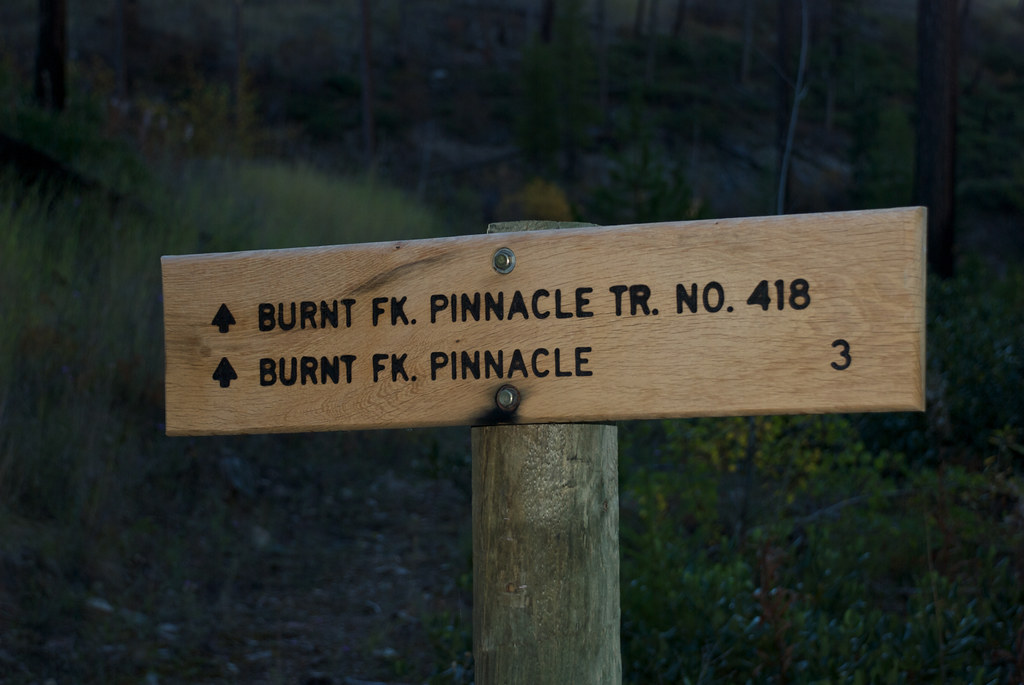 Trail head for Burnt Fork Pinnacle