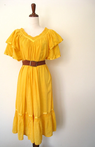 Bright as Sunshine Cotton Gauze Dress, Vintage 70's