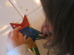Working on the star collage ornament