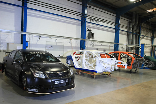 The BTCC Avensis in the workshop