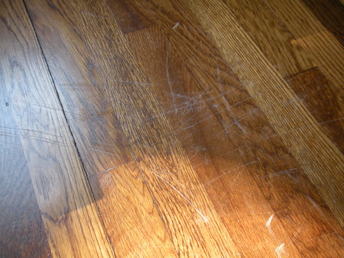 scratched floor: before