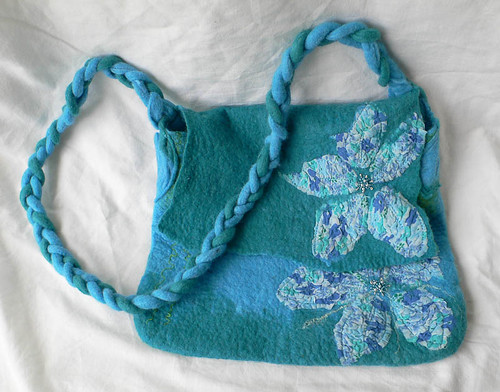 Blue & green felted merino bag