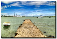 A view on the jetty (ApertureWorks) Tags: blue trees sea sky mountain water rock boat sand nikon ship jetty tamron hdr adjustment topaz d7000