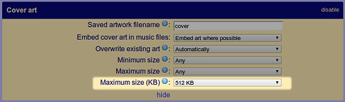 Maximum data size for album art