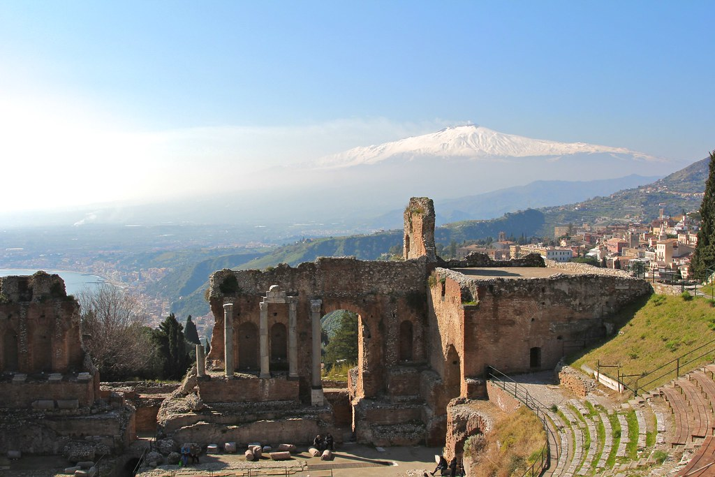 The Teatro Greco and Etna