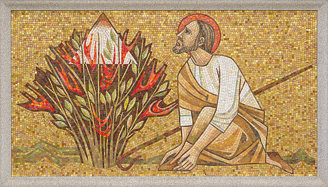 Resurrection Cemetery, in Affton, Missouri, USA - mosaic of Moses and the Burning Bush