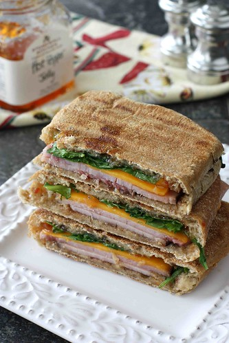 Toasted Panini with Ham, Cheddar, Pepper Jelly & Arugula Recipe
