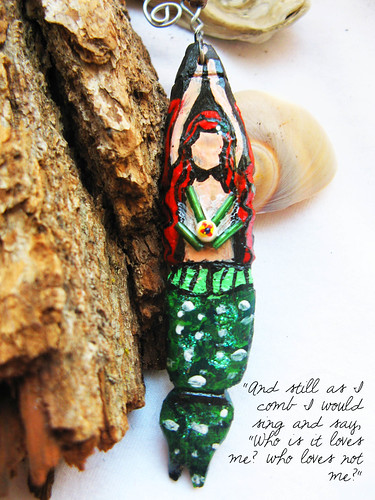 Wooden handpainted mermaid pendant - oceana by the sun and the turtle