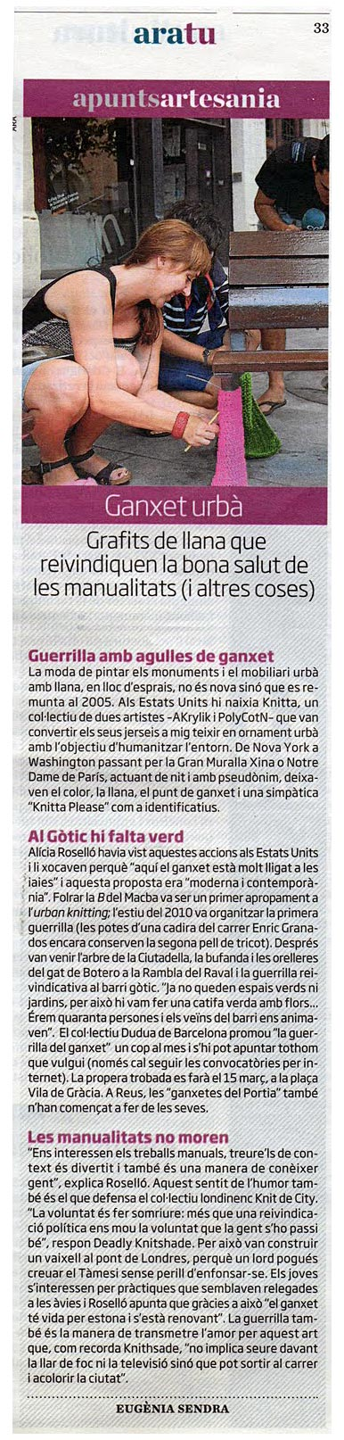 Article about the crochet guerrilla at the catalan newspaper Ara