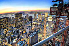 Ground Zero Area (Tony Shi.) Tags: world from above new york city nyc sunset urban ny newyork night buildings frank liberty dawn harbor twilight downtown skyscrapers manhattan stock ground gehry center best woolworth highrise wtc lower trade zero beekman