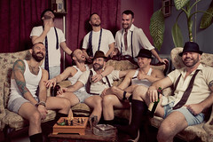 AK's Speakeasy - Laughing (davco9200) Tags: gay man guy vintage masculine muscle fedora wifebeater speakeasy