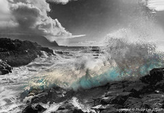 Queens Bath crashing surf (philipleemiller) Tags: seascape hawaii waves pacificocean kauai tropicalislands tinted hdr balihai princeville hanaleibay queensbath cumulusclouds crashingsurf silverefex
