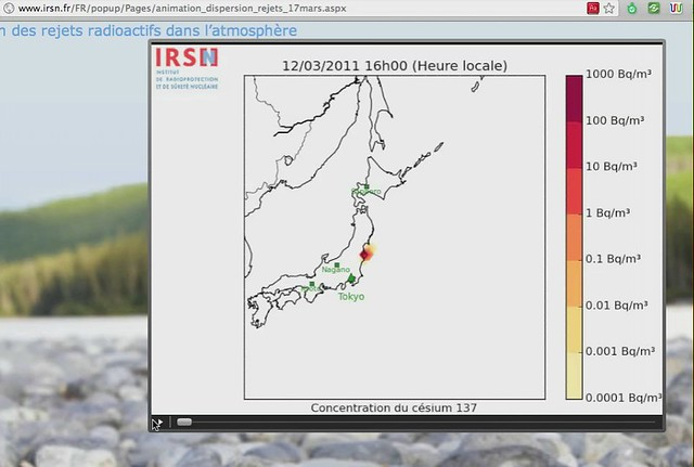 Japan Nuclear cloud _ IRSN animation_dispersion_rejets_17mars 2 – La dispersion des rejets radioactifs dans l'atmosphère