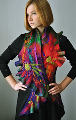 "Handmade felted scarf ""Little India"" (ShellenDesign) Tags: india wool scarf handmade felt sari multicolor"