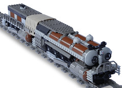 """Jrmungandr-Class"" Double-Boiler Locomotive (front) (aillery) Tags: train lego engine twin double steam locomotive freight boiler steampunk jrmungandr"