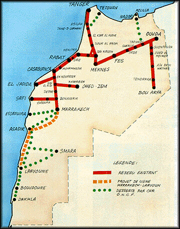 Map of the Moroccan rail system - ONCF