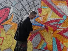 graffiti artist (wojofoto) Tags: streetart amsterdam graffiti artist action graffitiartist shout noord wojofoto urbanartmuralismamsterdam