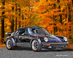 Porsche 911 Turbo Coupe (MidnightOil1) Tags: black illustration photoshop watercolor fallcolors 911 turbo porsche photoart coupe supercar carart worldcars 19741989