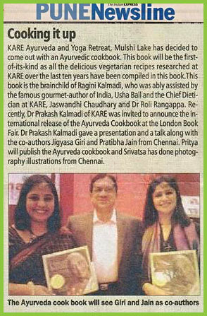 Indian Express features the launch of an ayurvedic cookbook
